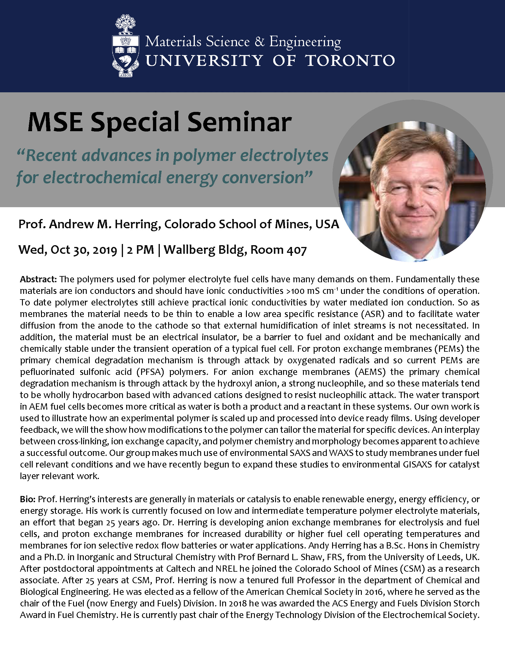 "MSE Special Seminar - ""Recent advances in polymer electrolytes for electrochemical energy conversion"""