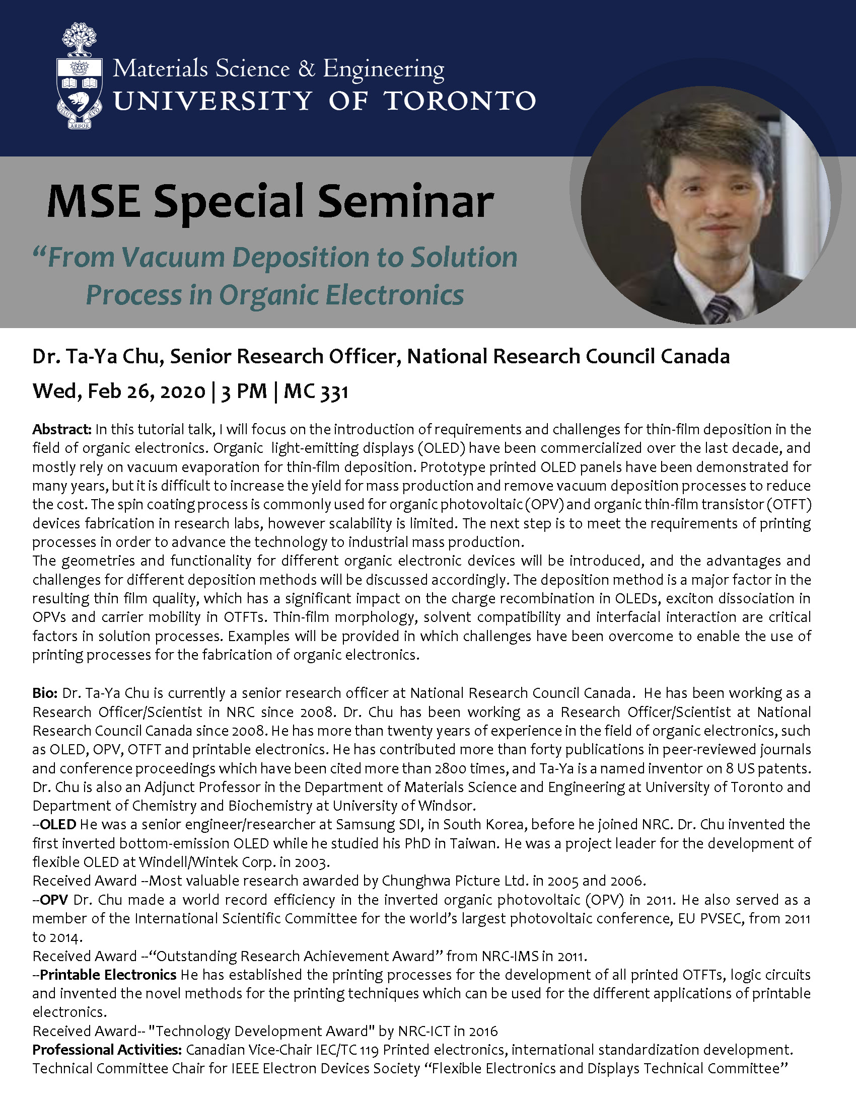 """MSE Special Seminar: """"From Vacuum Deposition to Solution Process in Organic Electronics"""" by Dr Chu"""