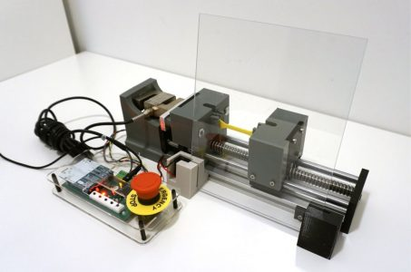 This open-source mechanical testing kit can be built for a fraction of the cost of a professional testing machine. As such, it enables more undergraduate students to gain hands-on experience in analyzing the properties of materials, including via distanced learning. (Photo: Crystal Liu)